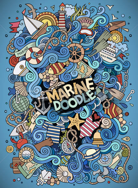 Cartoon hand-drawn doodles nautical, marine illustration Stock photo © balabolka