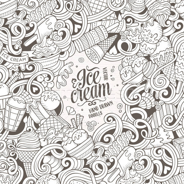 Cartoon hand-drawn doodles Ice Cream frame Stock photo © balabolka