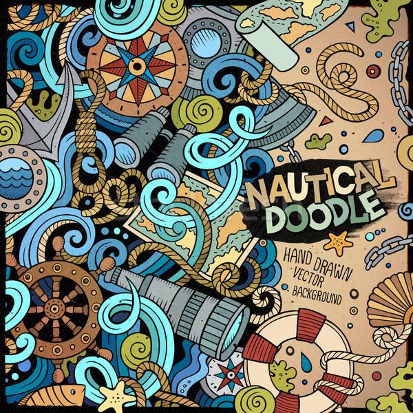 Tengerészeti rajz vektor firka illusztráció kézzel rajzolt Stock fotó © balabolka