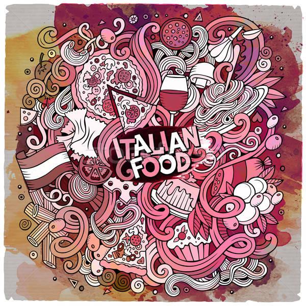 Cartoon scarabocchi cucina italiana frame cute Foto d'archivio © balabolka