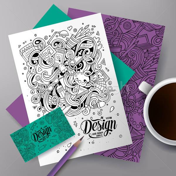 Cartoon cute vector hand drawn doodles Designer corporate identity set Stock photo © balabolka
