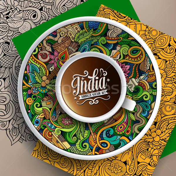 Vector up of coffee and India doodles on a saucer, paper and background Stock photo © balabolka