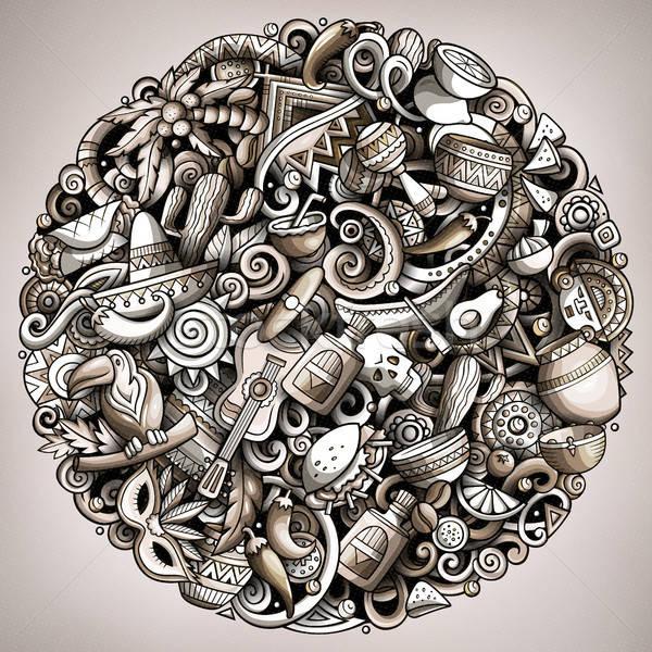 Desenho animado vetor américa latina ilustração monocromático Foto stock © balabolka
