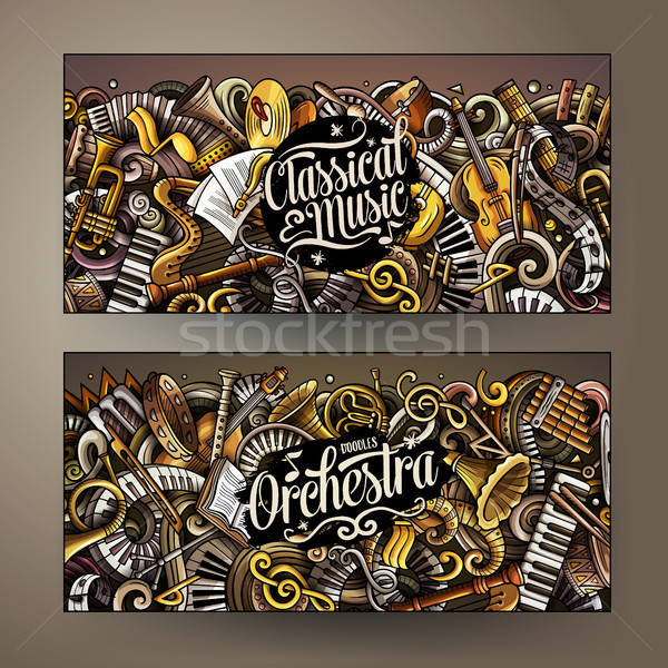 Cartoon cute colorful vector hand drawn doodles Classic music banners Stock photo © balabolka