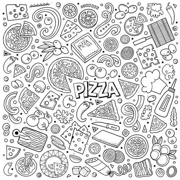 Vektör karikatür ayarlamak pizzacı nesneler semboller Stok fotoğraf © balabolka