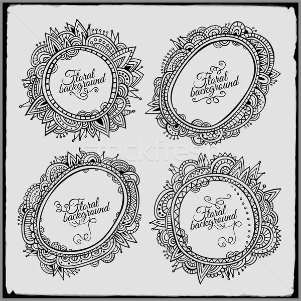 Set of four floral decorative vector frames Stock photo © balabolka