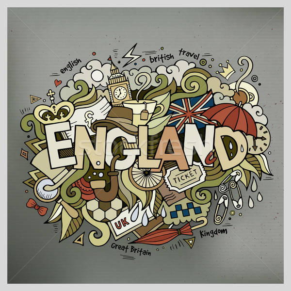 England hand lettering and doodles elements background Stock photo © balabolka