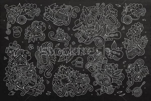 Camping naturaleza símbolos objetos garabatos dibujado a mano Foto stock © balabolka