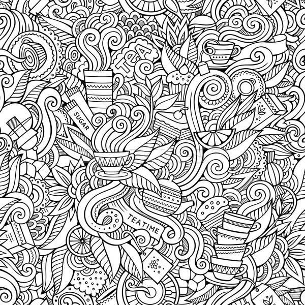Senza soluzione di continuità tè scarabocchi abstract pattern decorativo Foto d'archivio © balabolka