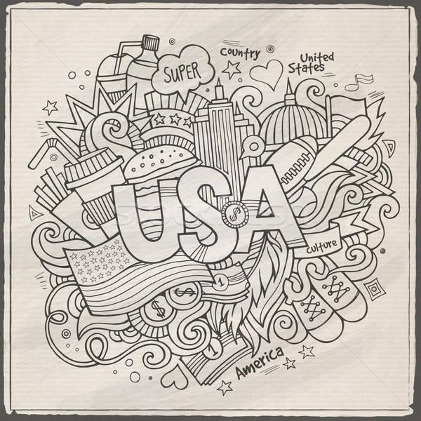美國 手 塗鴉 分子 旅行 旗 商業照片 © balabolka