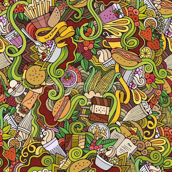 Cartoon vector hand-drawn Doodles on the subject of fast food  Stock photo © balabolka