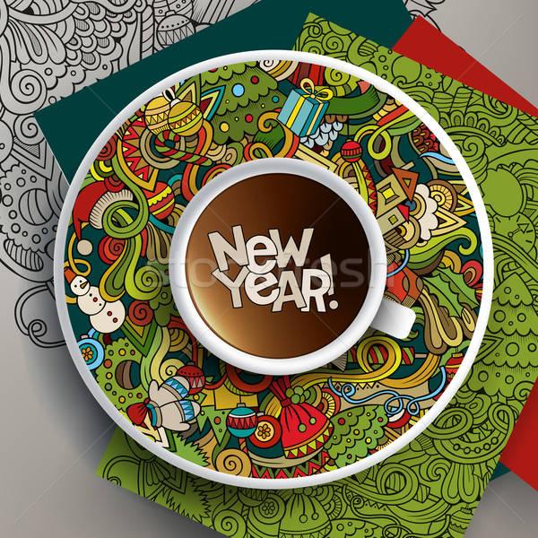 Taza café dibujado a mano año nuevo garabatos platillo Foto stock © balabolka