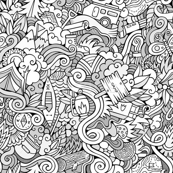Stock photo: Cartoon vector doodles camping seamless pattern