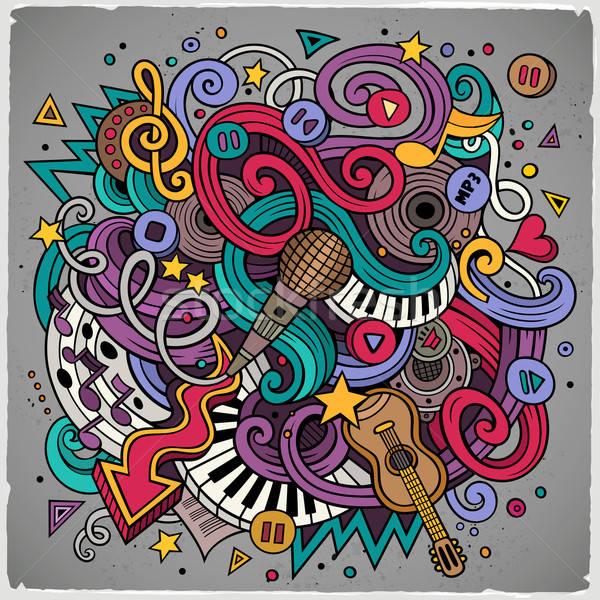 Cartoon hand-drawn doodles Musical illustration Stock photo © balabolka