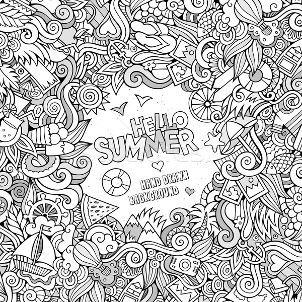 Doodles abstract decorative summer vector frame Stock photo © balabolka