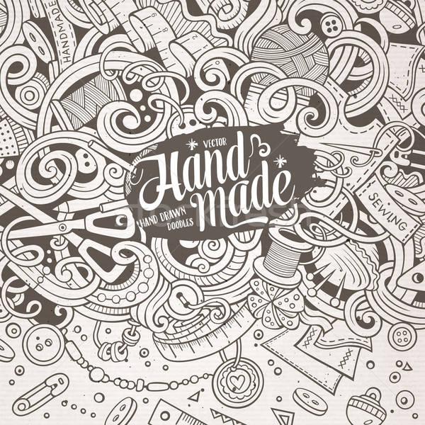Rajz aranyos firkák kéz keret terv Stock fotó © balabolka