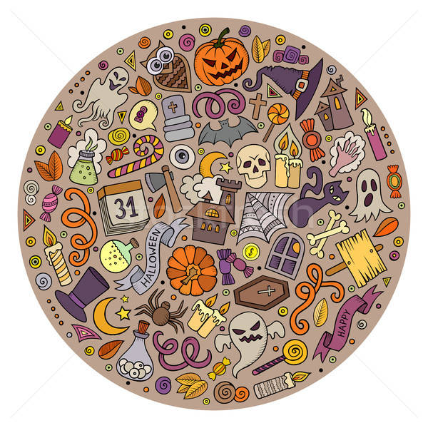 Set of Halloween cartoon objects, symbols and items Stock photo © balabolka