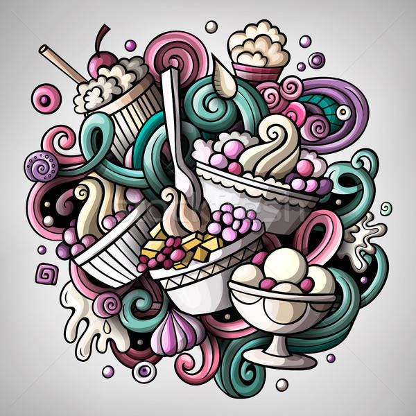 Stock photo: Cartoon cute doodles hand drawn Ice cream illustration