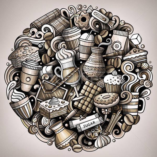 Cartoon vector doodles Coffe shop illustration Stock photo © balabolka