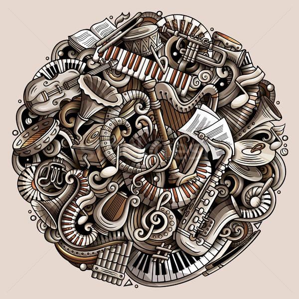 Rajz vektor firkák klasszikus zene illusztráció Stock fotó © balabolka