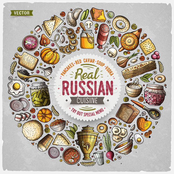Vector set of Russian food cartoon doodle objects Stock photo © balabolka