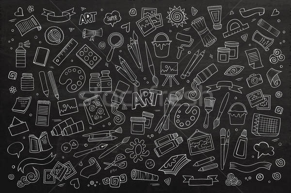 Art and craft hand drawn vector symbols and objects Stock photo © balabolka