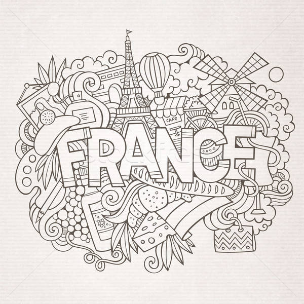 France country hand lettering and doodles elements Stock photo © balabolka