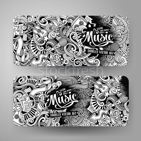 Stockfoto: Cartoon · musical · banners · lijn · kunst