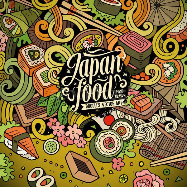 Cartoon bazgroły Japonia żywności ilustracja kolorowy Zdjęcia stock © balabolka