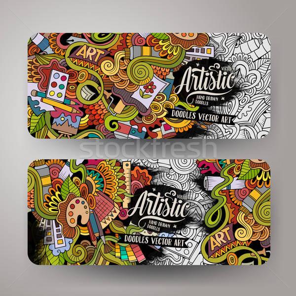 Stockfoto: Cartoon · vector · kunst · banners · kleurrijk