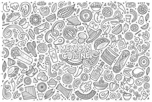 Garabato Cartoon establecer comida mexicana objetos línea Foto stock © balabolka