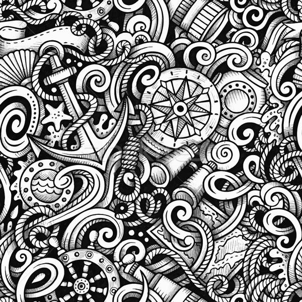 Cartoon hand-drawn doodles Nautical and Marine seamless pattern Stock photo © balabolka