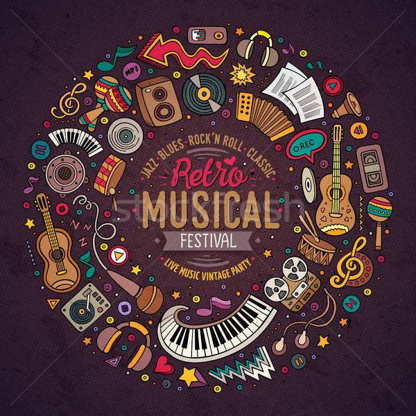 Set of Musical cartoon doodle objects, symbols and items Stock photo © balabolka