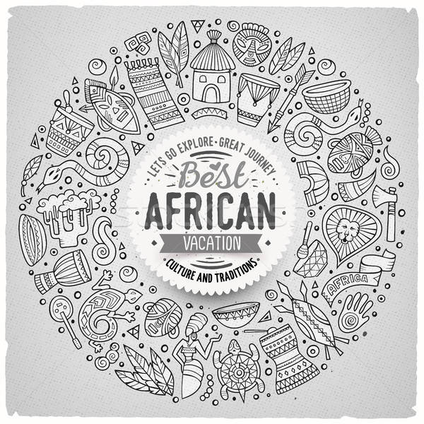 Set of Africa cartoon doodle objects round frame Stock photo © balabolka