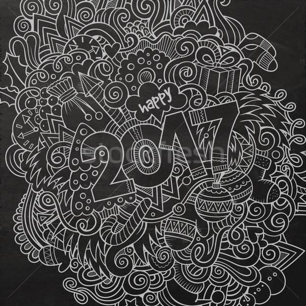 Cartoon cute bazgroły rok ilustracja Zdjęcia stock © balabolka