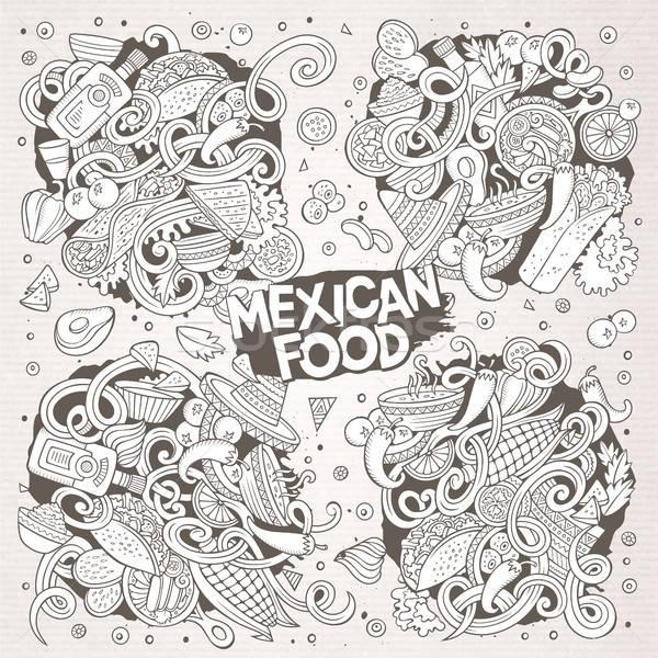 Cartoon zestaw meksykańskie jedzenie gryzmolić projekty line Zdjęcia stock © balabolka