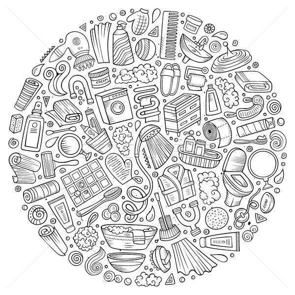 Vector hand drawn set of Bathroom cartoon doodle objects Stock photo © balabolka