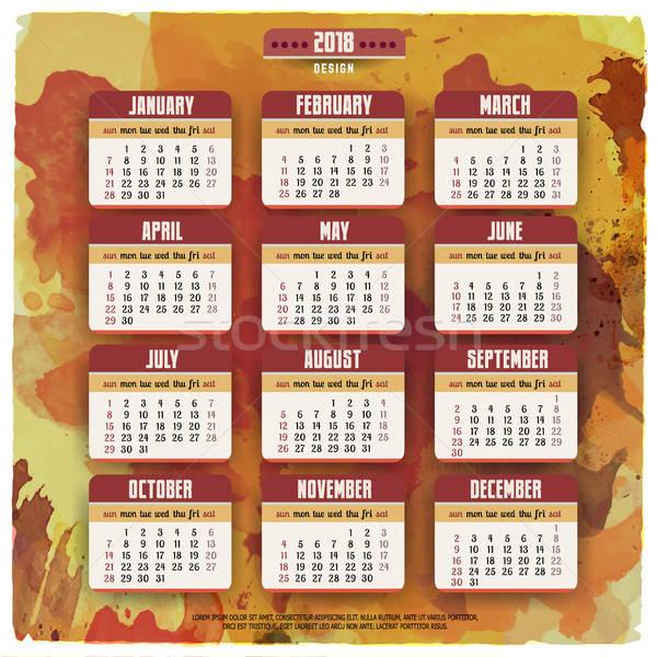 Cartoon hand drawn doodles 2018 year calendar Stock photo © balabolka