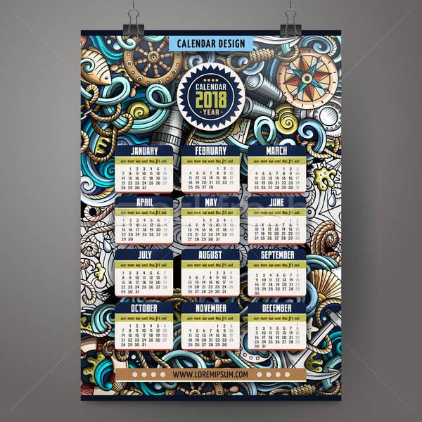 Rajz firkák tengerészeti év naptár sablon Stock fotó © balabolka