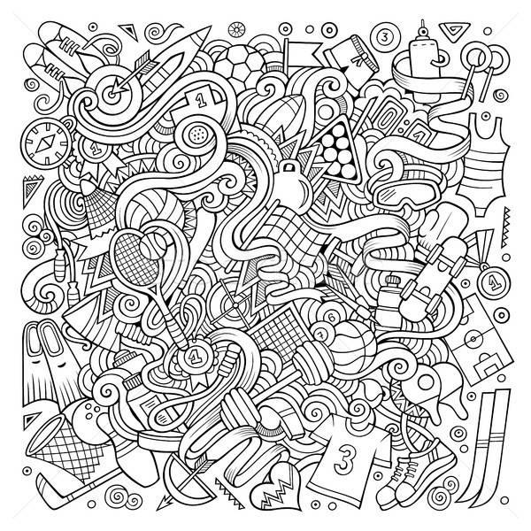 Cartoon cute doodles hand drawn Sport illustration Stock photo © balabolka