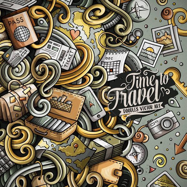 Cartoon cute doodles Travel frame design Stock photo © balabolka