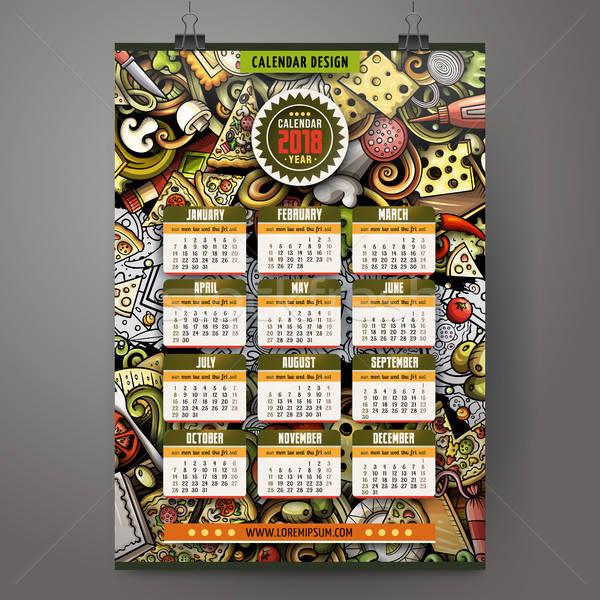 Cartoon colorful hand drawn doodles Pizza 2018 year calendar Stock photo © balabolka
