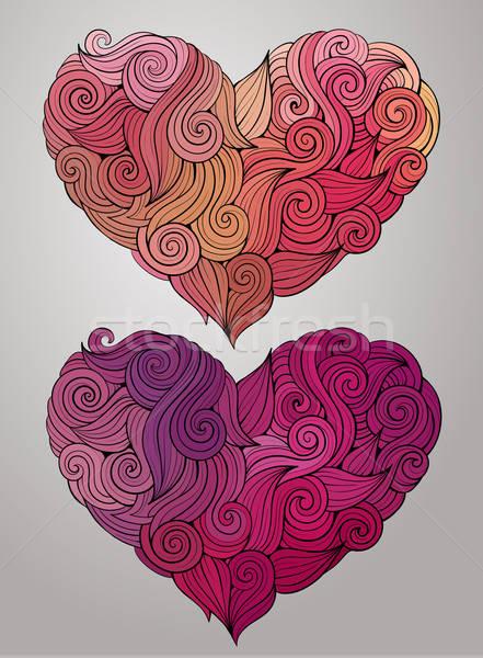 Kıvırcık vektör kalp ayarlamak dekoratif Stok fotoğraf © balabolka