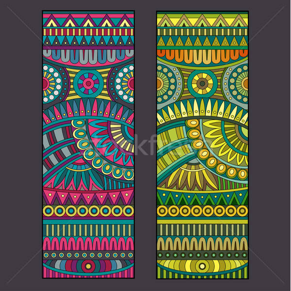 Stock photo: Abstract vector tribal ethnic background set.