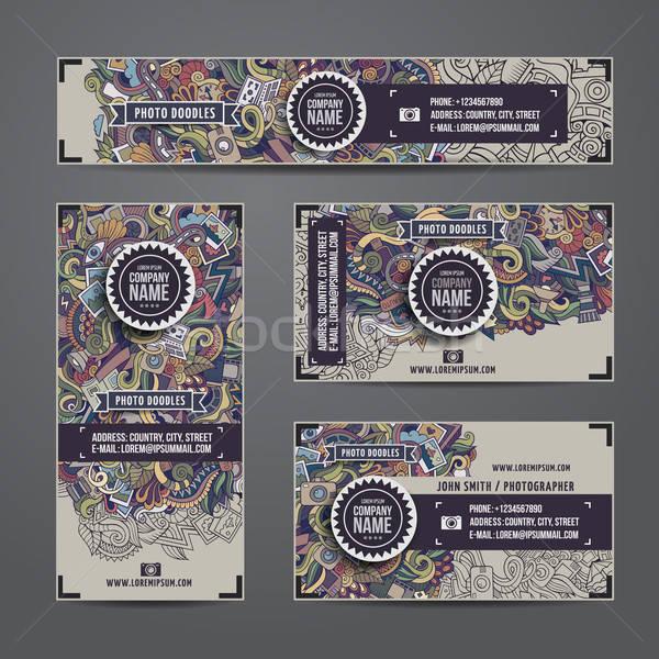 Corporate Identity vector templates doodles photo Stock photo © balabolka