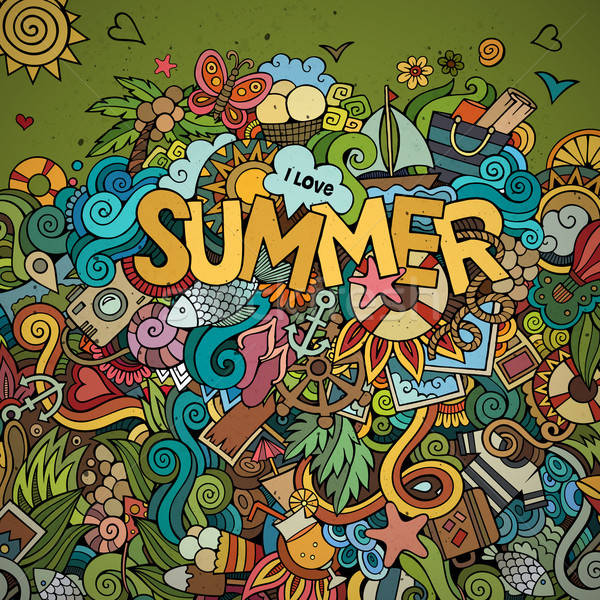Stock photo: Doodles abstract decorative summer background