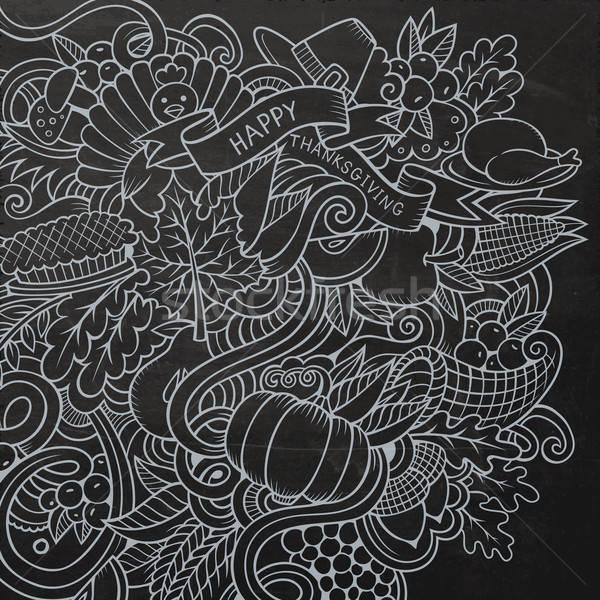 Cartoon vector hand-drawn Doodle Thanksgiving Stock photo © balabolka