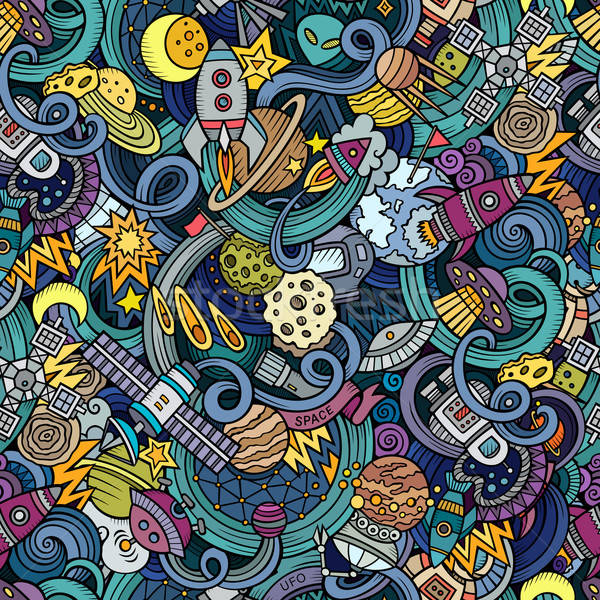 Cartoon hand-drawn doodles on the subject of space seamless pattern Stock photo © balabolka