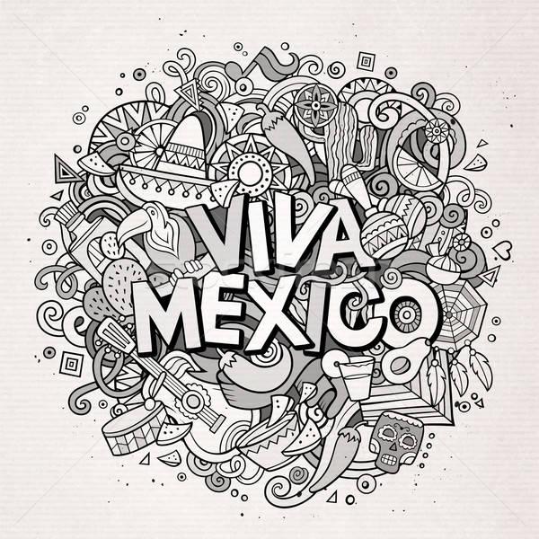 Viva Mexico sketchy outline festive background Stock photo © balabolka