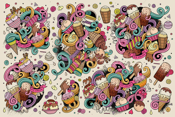 Colorful vector hand drawn doodle cartoon set of ice-cream objec Stock photo © balabolka